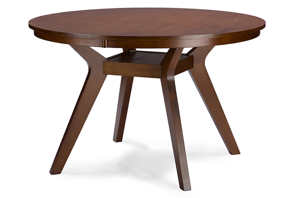 baxton studio montreal mid century dark walnut round wood dining table affordable modern. Black Bedroom Furniture Sets. Home Design Ideas