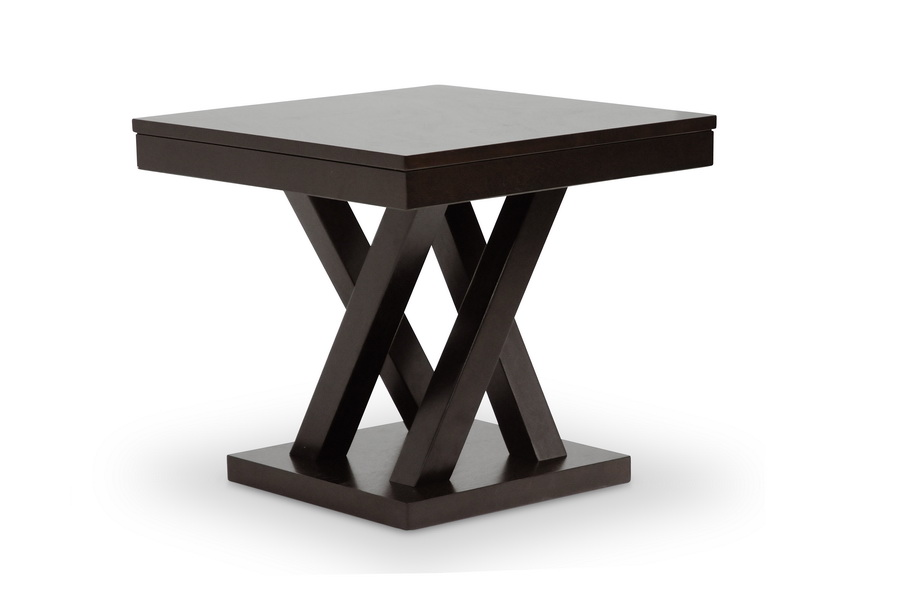 Baxton studio everdon dark brown modern end table for Cheap modern end tables