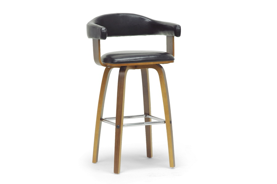 modern counter stools with arms zuo boxter stool white leather studio walnut black