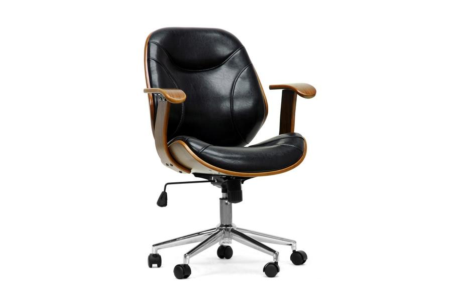 Modern Desk Chair Part - 31: Baxton Studio Rathburn Walnut And Black Modern Office Chair - BSOSD-2235-5  Walnut ...