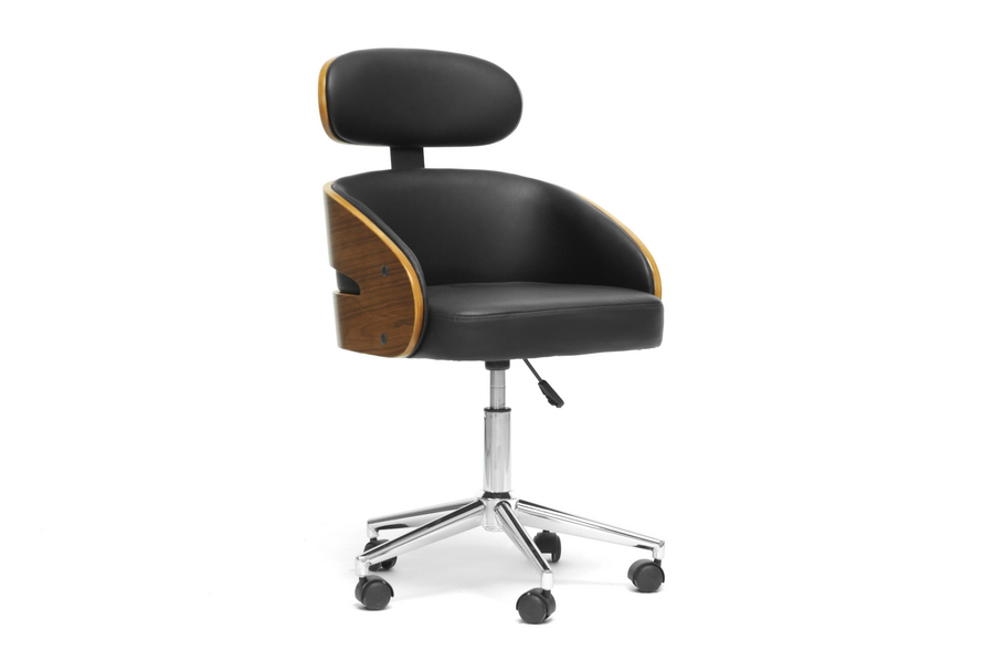 baxton studio kneppe black modern office chair bsosdl 2006 5 oc - Affordable Modern Office Furniture