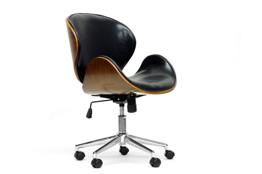 baxton studio bruce walnut and black modern office chair affordable modern furniture chicago bruce walnut - Affordable Modern Office Furniture