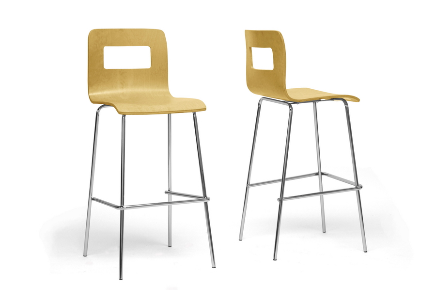 Baxton Studio Greta Birch Modern Bar Stool Set Of 2 Affordable Modern Furniture In Chicago