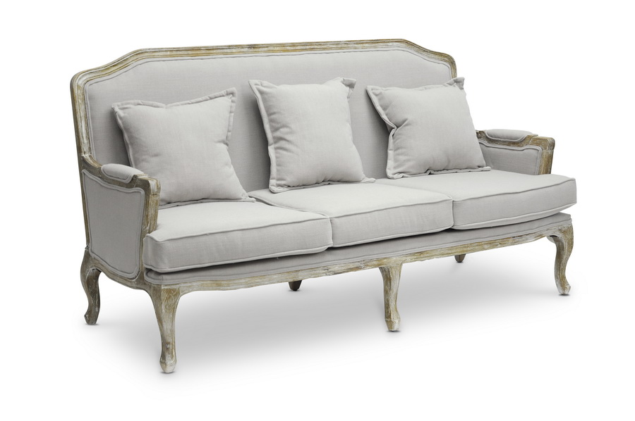 Baxton studio constanza classic antiqued french sofa for Affordable modern sofa