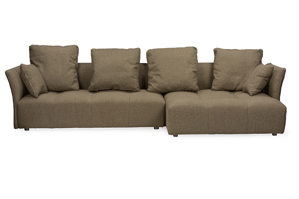 Baxton studio abbott contemporary brown fabric right for Affordable modern sofa