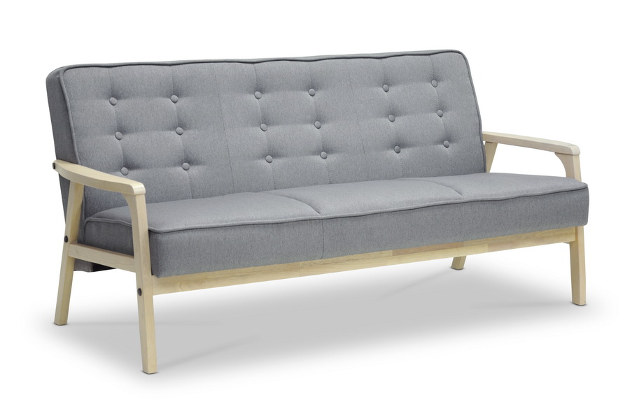Baxton studio mid century timor sofa gray affordable for Affordable mid century modern sofa