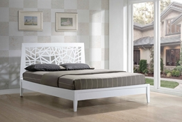 Baxton Studio Jennifer Tree Branch Inspired Modern and Contemporary King Size White Solid Wooden Platform Base Bed Frame Affordable modern furniture in Chicago, Baxton Studio Jennifer Tree Branch Inspired Modern and Contemporary King Size White Solid Wooden Platform Base Bed Frame