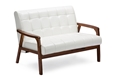Baxton Studio Baxton Studio Mid-Century Masterpieces Loveseat - White Loveseat/Cheap/Brown Wood/Leather/Living-Room Accent/White