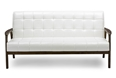 Baxton Studio Baxton Studio Mid-Century Masterpieces Sofa - White Sofa/Modern/Brown/Wood/Leather/White