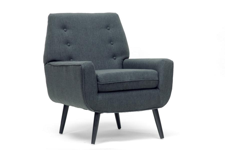 Levison Gray Linen Modern Accent Chair