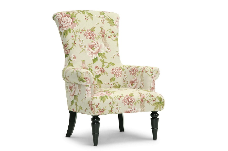 Kimmett Beige and Pink Linen Floral Accent Chair | Affordable ...
