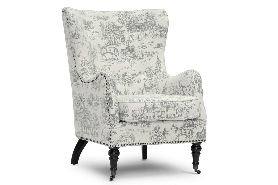 Baxton Studio Livingston Beige Linen Accent Chair With Colonial Print    BSOTSF 71013 CC ...