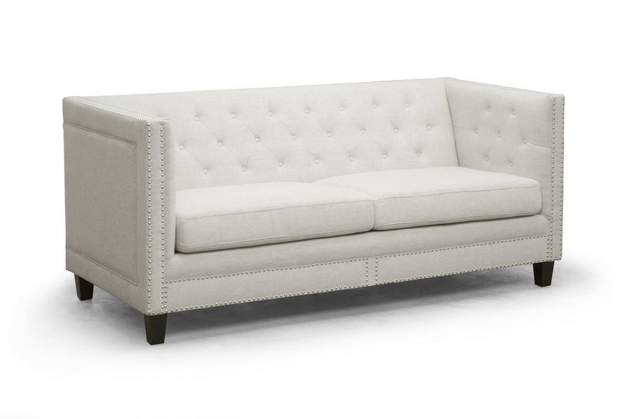 Baxton Studio Parkis Beige Linen On Tufted Sofa