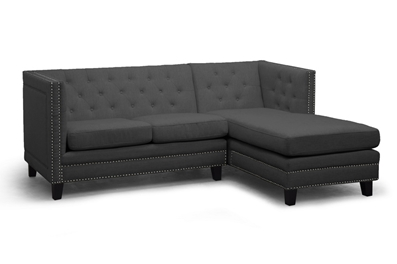 Baxton Studio Parkis Gray Linen Button Tufted Sectional Sofa ORG $901 SALE PRICE $820