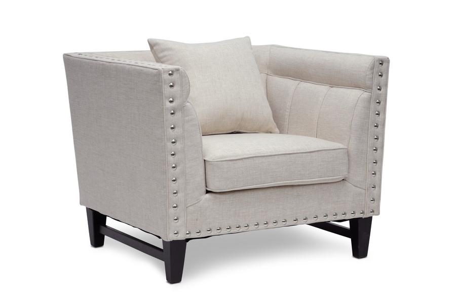 Baxton Studio Stapleton Beige Linen Modern Accent Chair    BSOTSF 71023 CC Beige ...