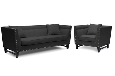 Baxton Studio Stapleton Gray Linen Modern Sofa and Chair Set ORG $900 SALE PRICE $810