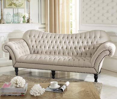 Baxton Studio Bostwick Beige Linen Classic Victorian Sofa ORG $834 SALES PRICE $751