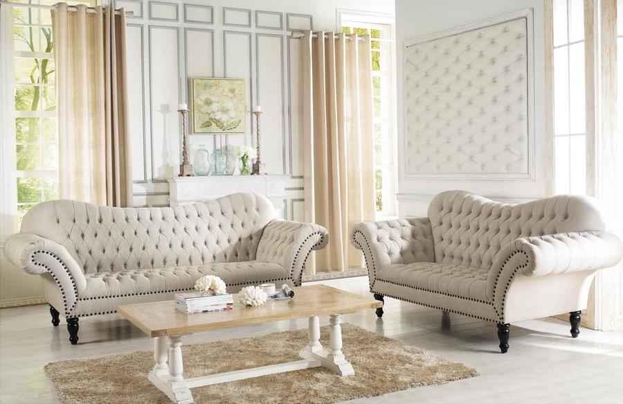 Baxton Studio Bostwick Beige Linen Classic Victorian Sofa Set