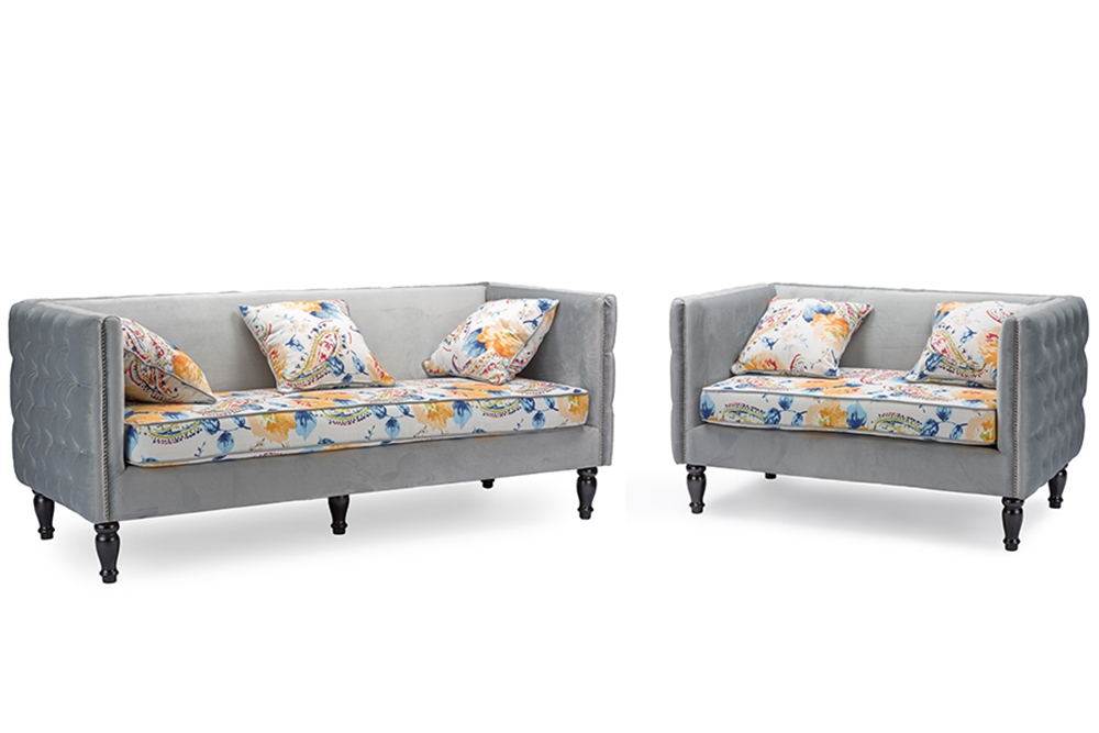 Baxton Studio Penelope Gray Velvet And Paisley Floral Sofa And Loveseat Set Affordable Modern
