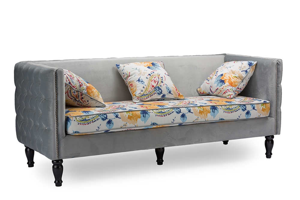 Baxton Studio Penelope Gray Velvet And Paisley Floral Sofa Affordable Modern Furniture In Chicago