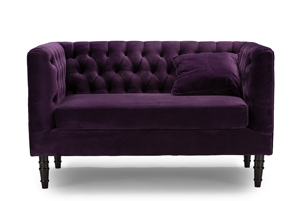 Baxton Studio Rylee Purple Velvet Button Tufted Loveseat Affordable Modern Furniture In Chicago
