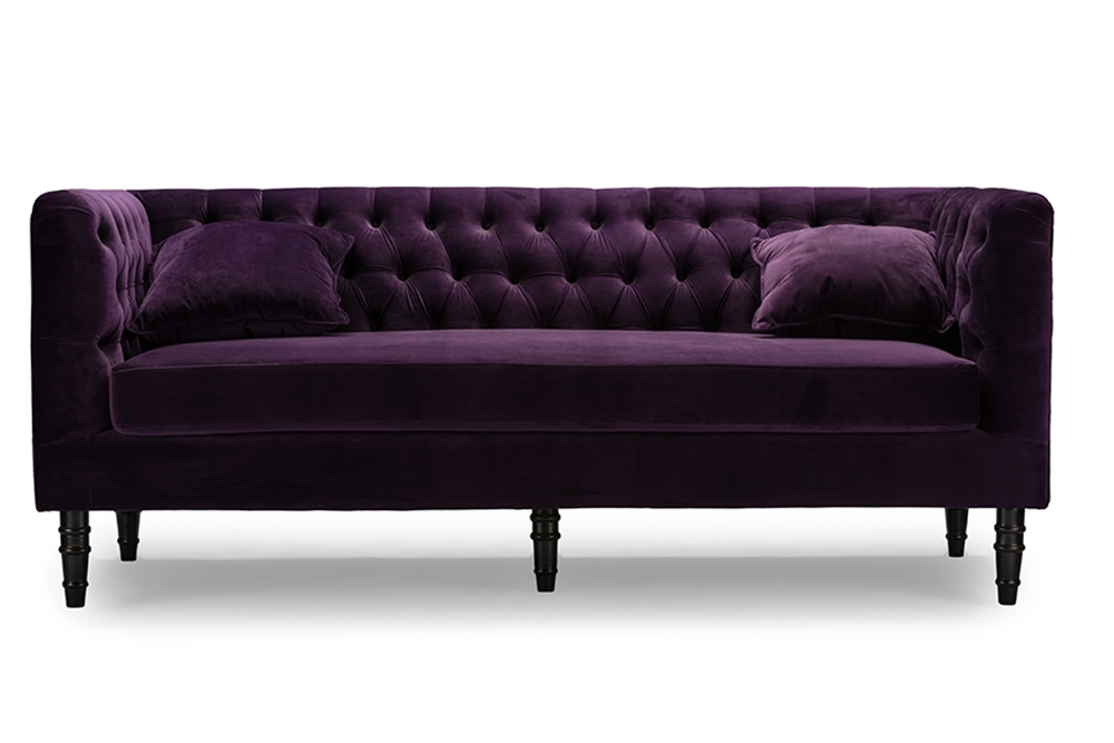 Purple Velvet Sofa Victoria 3 Seater Chesterfield Boutique