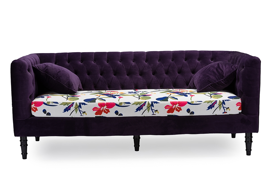 Baxton Studio Freya Purple Velvet And Beige Linen Floral Sofa -  BSOTSF-8127-SF