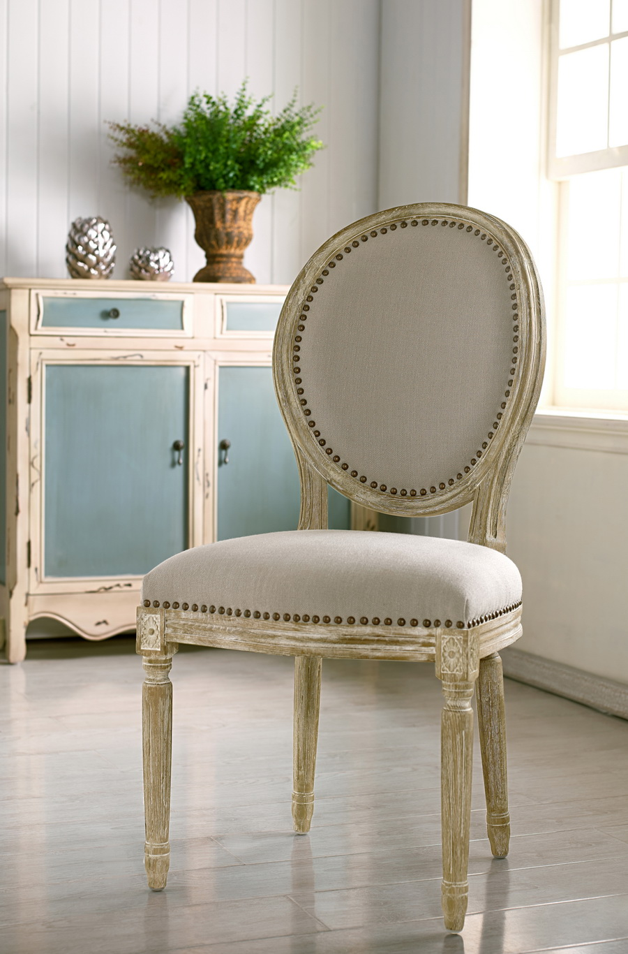 Delightful ... Baxton Studio Clairette Wood Traditional French Accent Chair Round    BSOTSF 9315 Beige