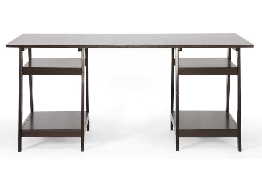 Baxton Studio Mott Dark Brown Wood Modern Desk with Sawhorse Legs (Large) -  BSORT219 ...