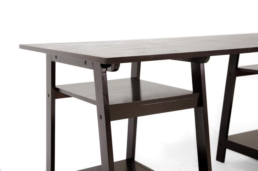 Large Modern Desk baxton studio mott dark brown wood modern desk with sawhorse legs