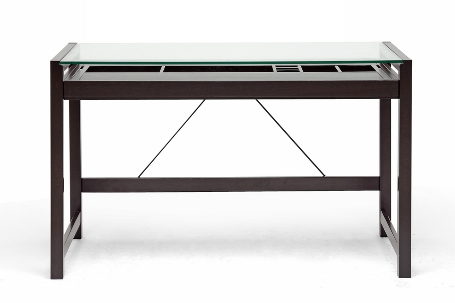 Good Wood Desk With Glass Top Part - 8: Baxton Studio Idabel Dark Brown Wood Modern Desk With Glass Top -  BSORT207-TBL ...