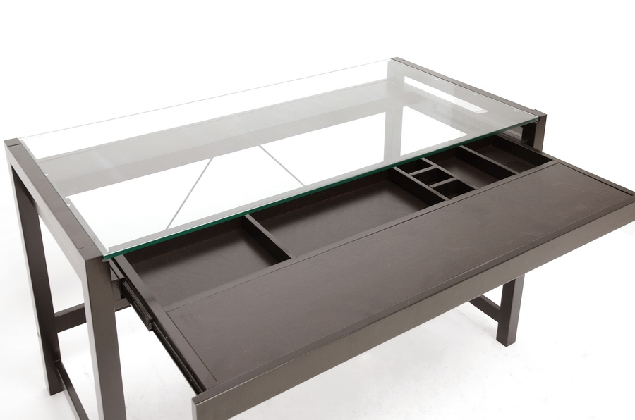 Wood Desk With Glass Top Part - 30: ... Baxton Studio Idabel Dark Brown Wood Modern Desk With Glass Top -  BSORT207-TBL ...