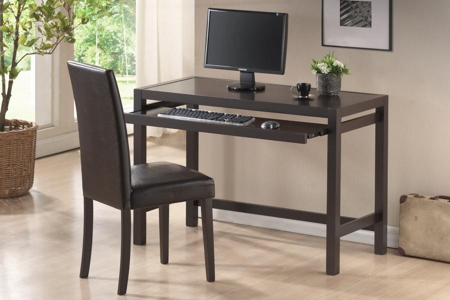 Baxton Studio Astoria Dark Brown Modern Desk And Chair Set