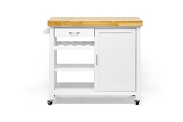 Baxton Studio Denver White Modern Kitchen Cart with Butcher Block Top affordable modern furniture in Chicago, Dining Room Furniture, Victoria 7-Piece Wood Modern Dining Set