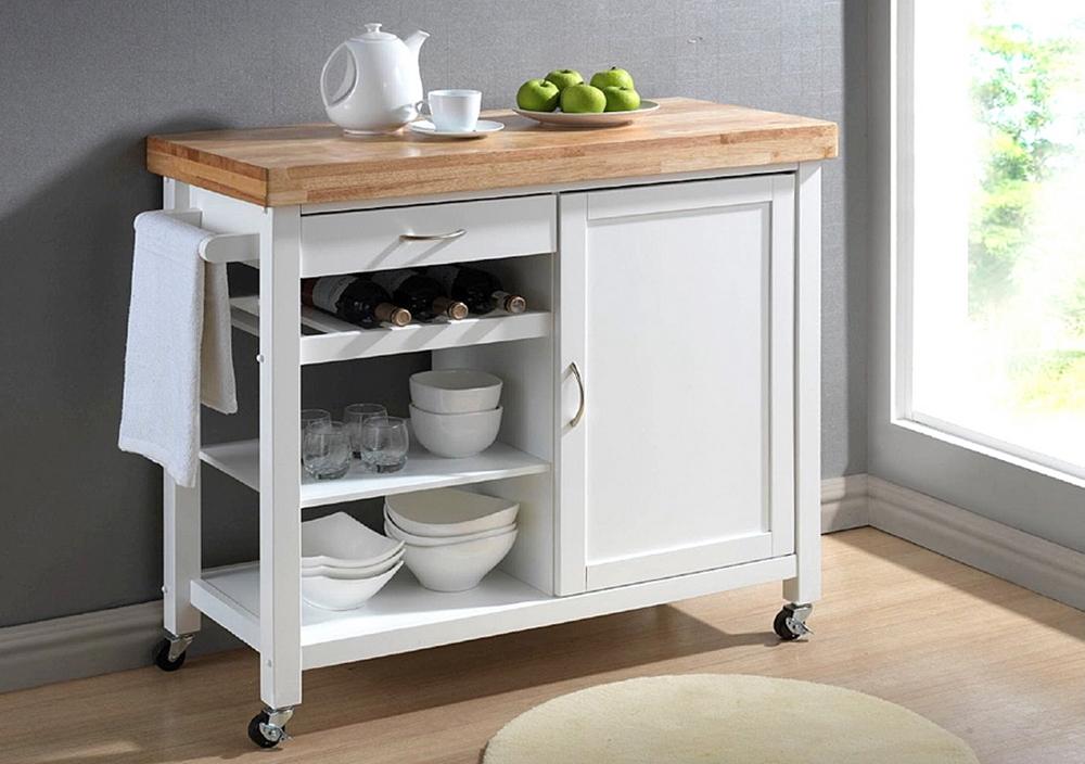Baxton Studio Denver White Modern Kitchen Cart With