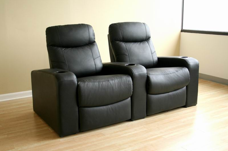 Home Theater Seating Cannes In Black Row Of 2 Affordable Modern Furniture