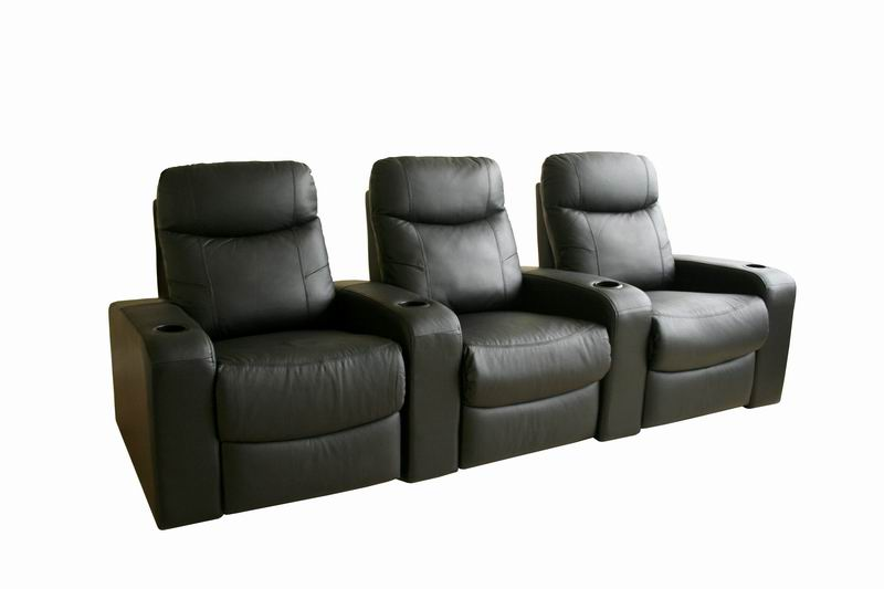 Home Theater Seating Cannes In Black Row Of 3 Affordable Modern Furniture