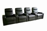 Home Theater Seating Cannes in Black - Row of 4