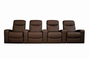 Home Theater Seating Cannes in Brown - Row of 4