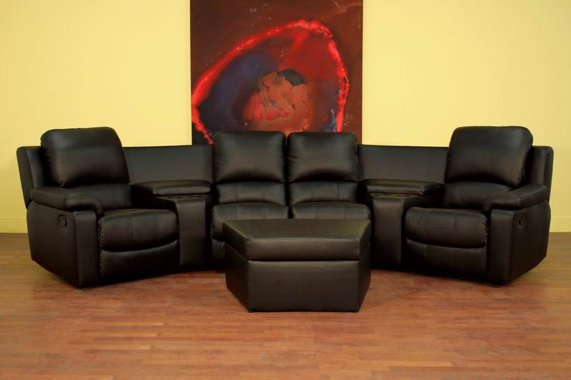 Delightful ... 7 Piece Home Theater Seating Sectional In Black ...