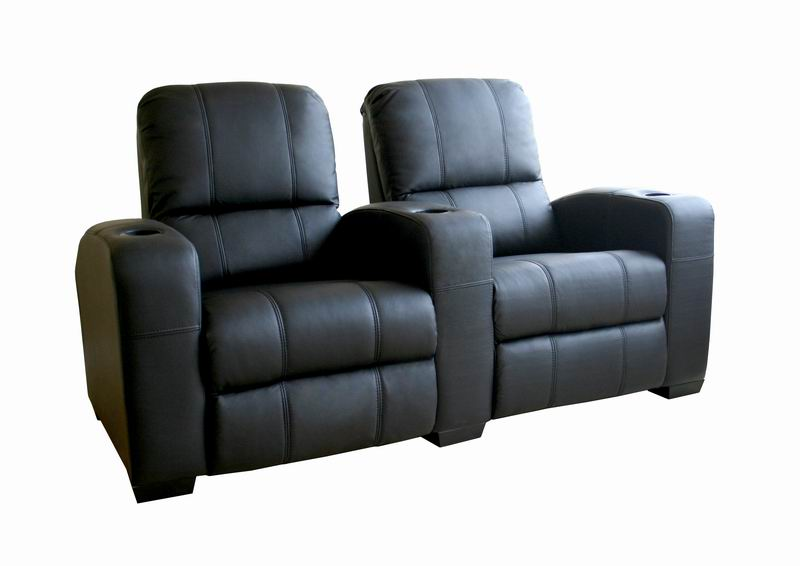 broadway home theater chairs in black row of 2