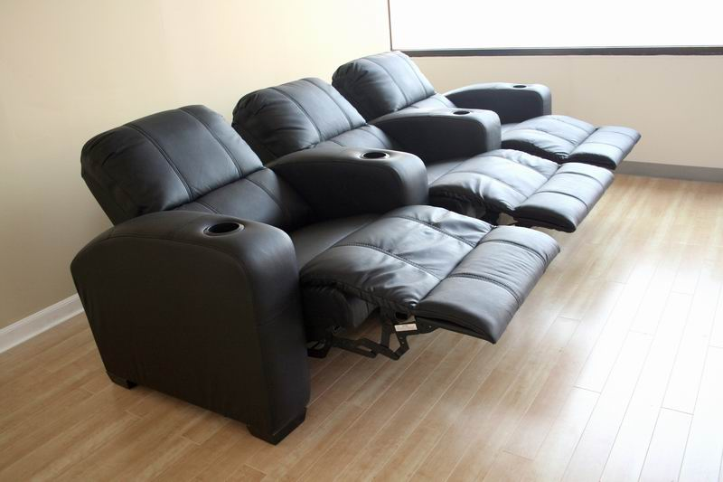 Broadway Black Leather Home Theater Recliner Seats Row Of 3 Affordable Mode