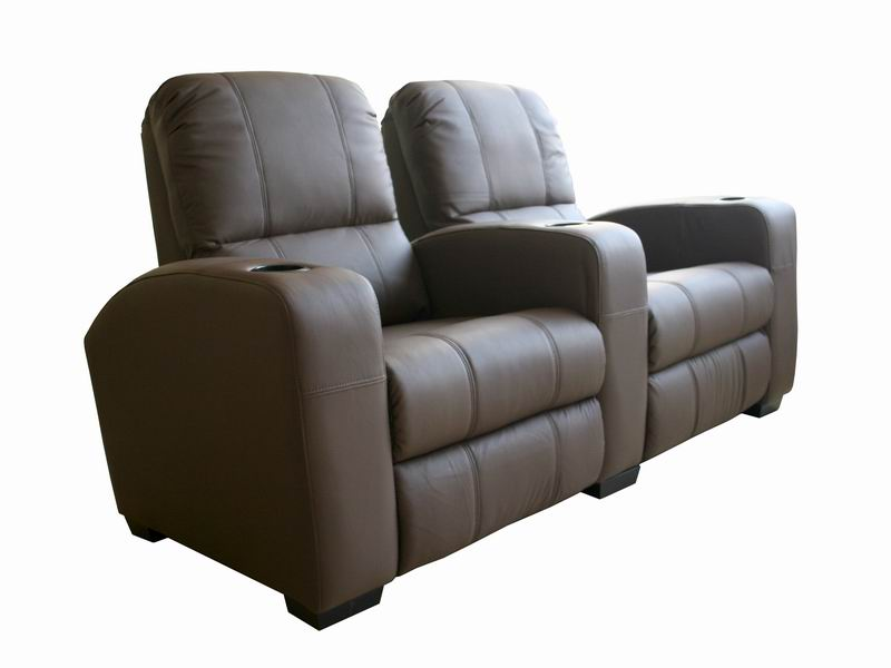 broadway home theater chairs in brown row of 2