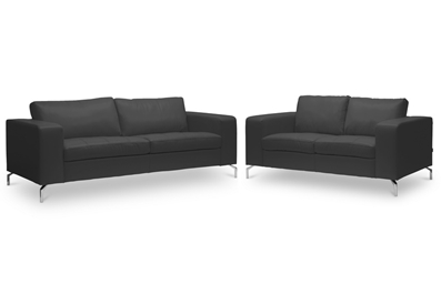 Baxton Studio Lazenby Black Leather Modern Sofa Set ORG $886 SALE PRICE $797