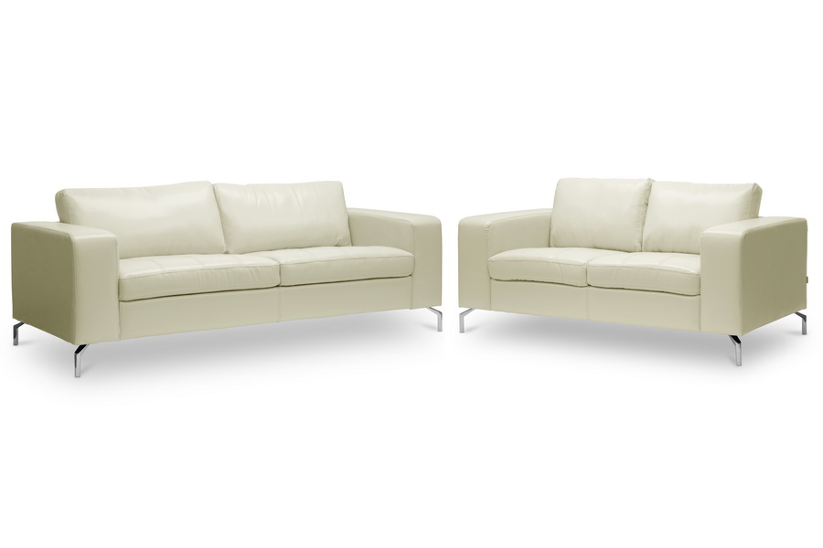 Baxton Studio Lazenby Cream Leather Modern Sofa Set - BSOU1154N 2PC Cream