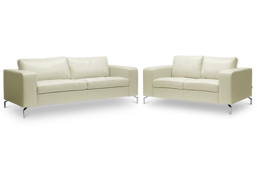 Baxton Studio Lazenby Cream Leather Modern Sofa Set