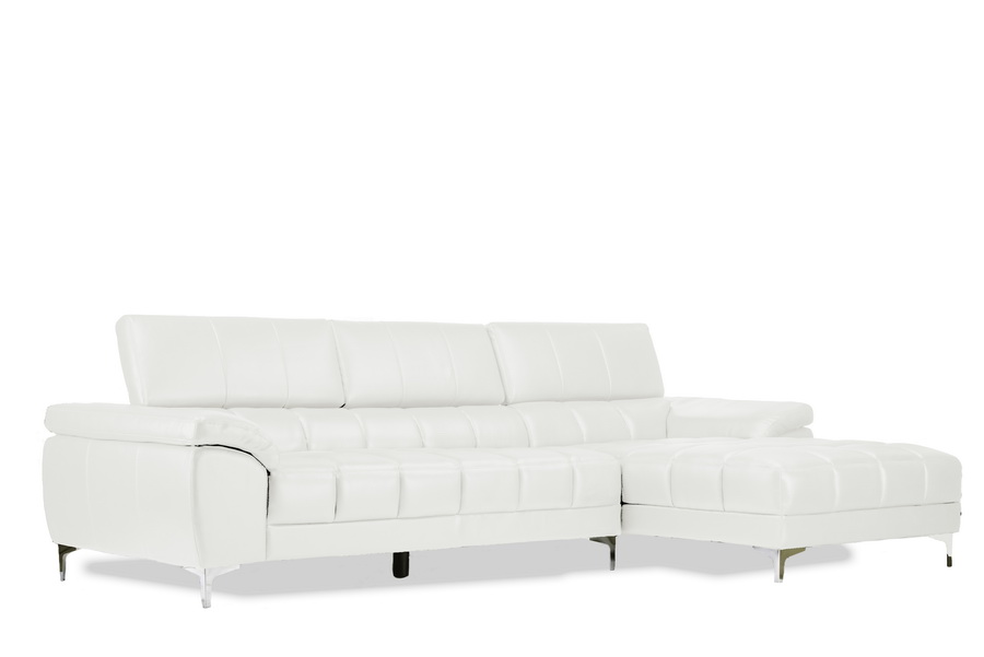 Baxton Studio Sosegado White Leather Sectional Sofa with Left Facing Chaise  Living Room Furniture Sectional