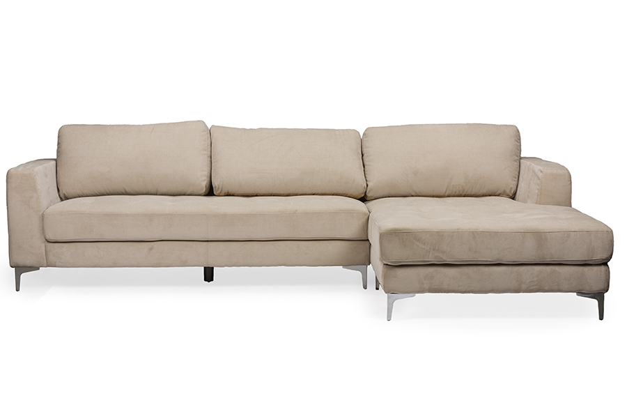 Baxton Studio Agnew Contemporary Light Beige Bonded Leather Right Facing Sectional Sofa