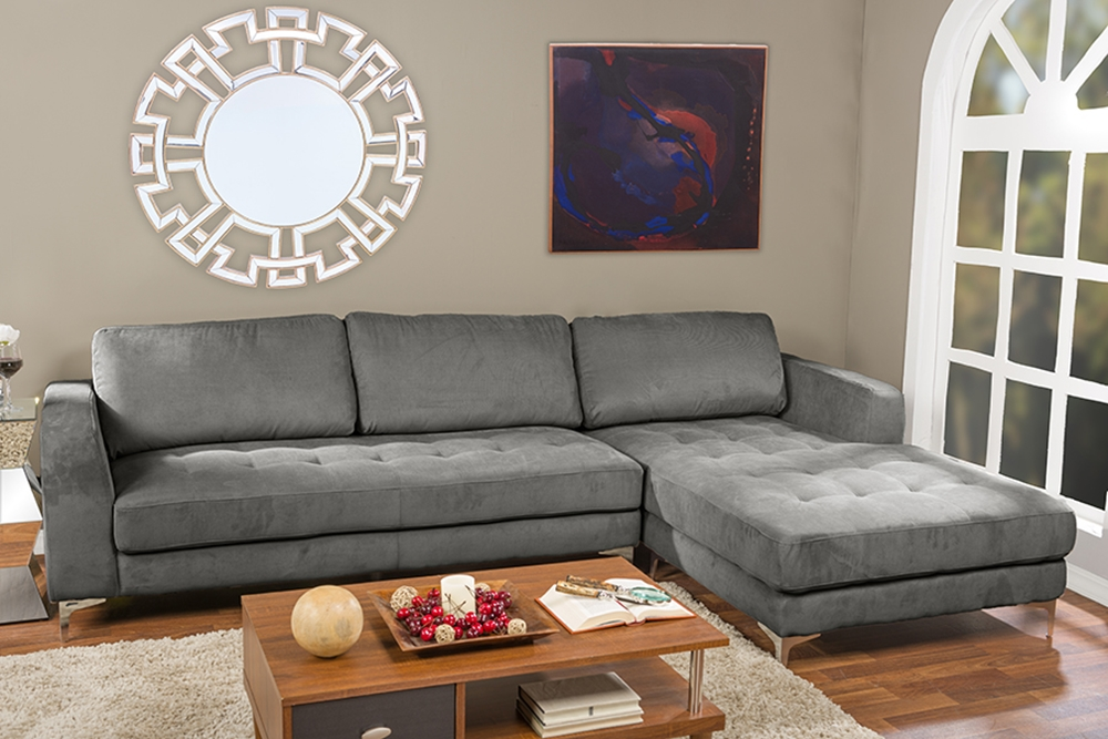 Baxton Studio Agnew Contemporary Grey Bonded Leather Right