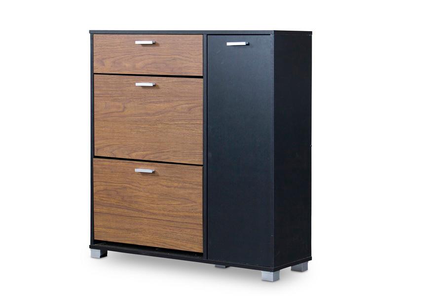Baxton Studio Chateau Storage Cabinet Black Walnut Affordable Modern Furniture In Chicago